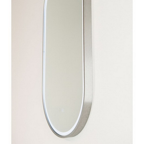 Gatsby 460 Vertical LED Lighting Mirror with Demister Brushed Nickel Aluminium Frame [254997]