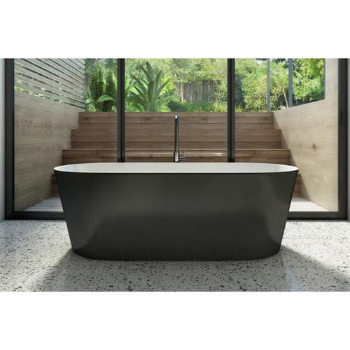 Elinea 1780mm Freestanding Bath 312L Premium Sanitary Grade Acrylic High Gloss Black/White [180786]