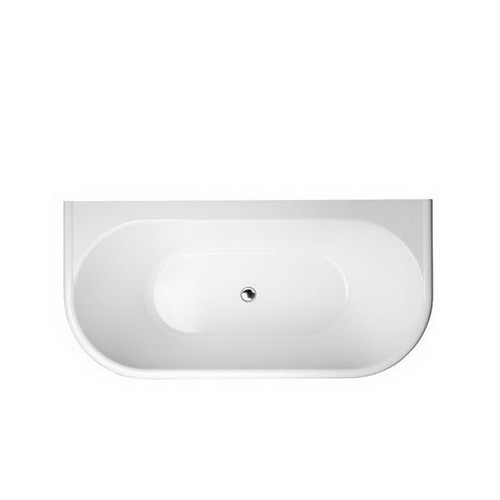 Oxford 1700mm Back-to-Wall Freestanding Bath 174L Premium Sanitary Grade Acrylic High Gloss White With Overflow Hole [191849]