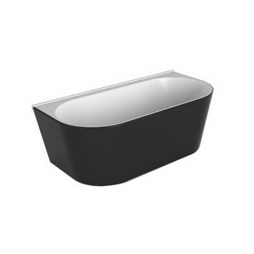 Alegra 1700mm Back-to-Wall Freestanding Bath 175L Premium Sanitary Grade Acrylic High Gloss Black/White [191821]