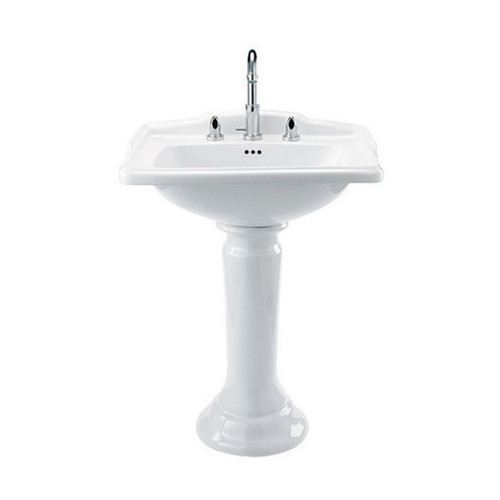 Birmingham 625mm x 485mm Basin and Pedestal Vitreous China Gloss White Ceramic 3 Tap Hole [251114]