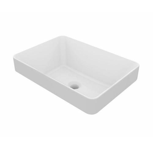 Fino 500mm x 350mm Inset Wash Basin Double Glazed Fine Fireclay Gloss White No Tap Hole [251132]