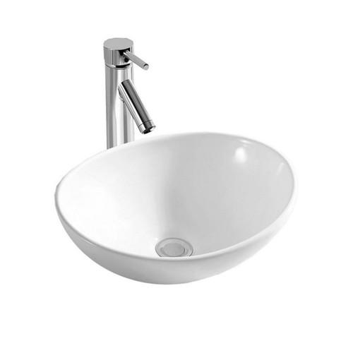 Narva 410mm x 330mm Above Counter Wash Basin Double Glazed Ceramic Gloss White No Tap Hole [251230]