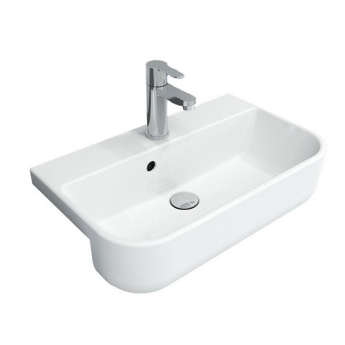 Narva 560mm x 340mm Semi-Recessed Basin Double Glazed Ceramic Gloss White 1 Tap Hole [251231]