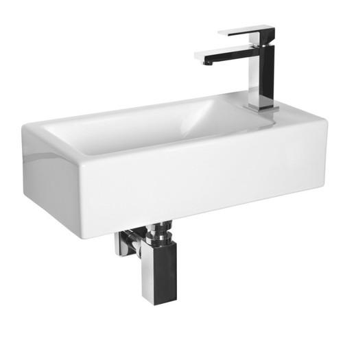Peak 501mm x 256mm Wall Hung Wash Basin Double Glazed Ceramic Gloss White 1 Tap Hole [251242]