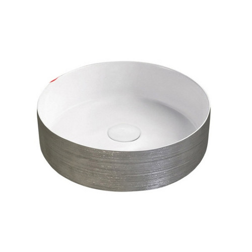 Florencia 360mm Above Counter Basin 7L Vitreous China Scratch Silver/Matte White No Tap Hole [254430]
