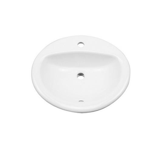 Novara 515mm Inset Basin 4.45L Vitreous China High Gloss White 1 Tap Hole [254436]