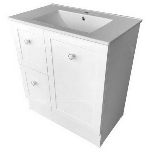 Solid Surface Benchtop With White Gloss Basin + Vienna 750 Kick Board Cabinet 1 Door 2 Drawer [254961]