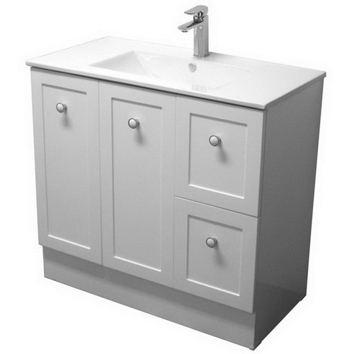 Solid Surface Benchtop With White Gloss Basin + Vienna 900 Kick Board Cabinet 2 Door 2 Drawer [254969]