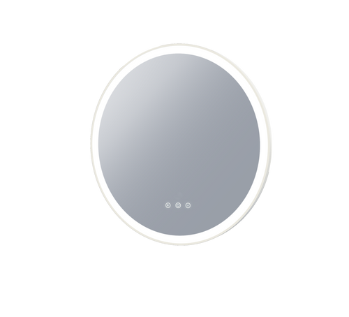 Eclipse 800 Frontlit Round LED Lighting Mirror with Demister Dimmable Matt White MDF Frame [254994]
