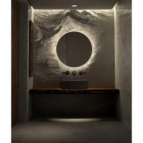 Sphere 600 LED Lighting Mirror Nickel Concrete Frame [255058]