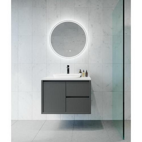 Sphere 600 LED Lighting Mirror with Demister Ash Concrete Frame [255065]