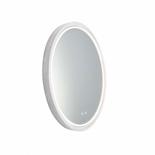 Sphere 600 LED Lighting Mirror with Demister & Bluetooth Speakers Ash Concrete Frame [255076]