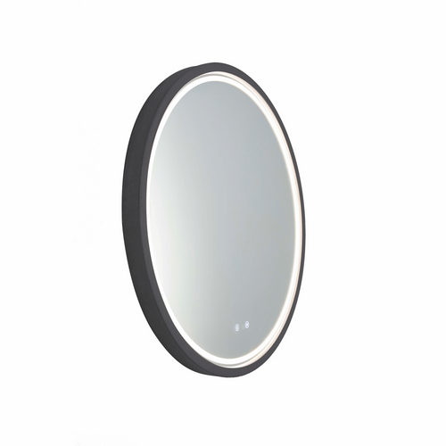 Sphere 600 LED Lighting Mirror with Demister & Bluetooth Speakers Coal Concrete Frame [255077]