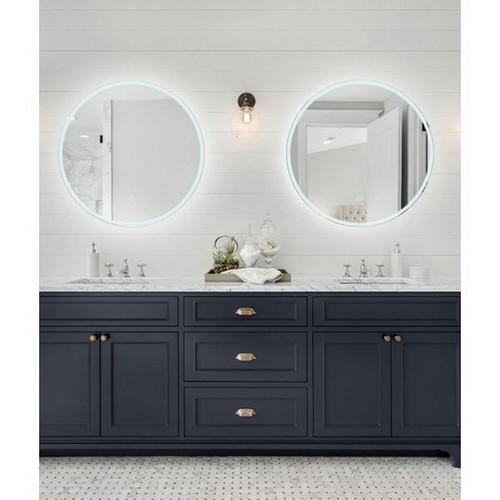 Sphere 600 LED Lighting Mirror with Demister & Bluetooth Speakers Desert Concrete Frame [255078]