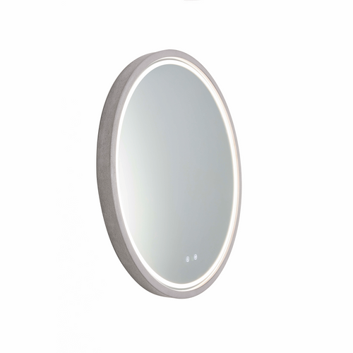 Sphere 600 LED Lighting Mirror with Demister & Bluetooth Speakers Nickel Concrete Frame [255079]