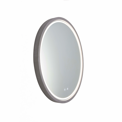 Sphere 600 LED Lighting Mirror with Demister & Bluetooth Speakers Stone Concrete Frame [255080]