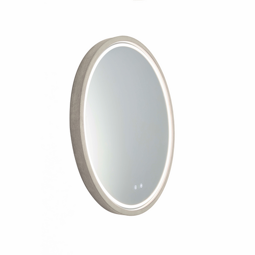 Sphere 600 LED Lighting Mirror with Demister & Bluetooth Speakers Taupe Concrete Frame [255081]
