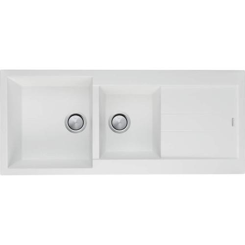 Santorini White 1 & 3/4 Bowl Topmount Sink With Drainer-NTH [152527]
