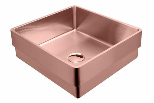 Rectangular Stainless Steel Inset Copper Basin [255140]