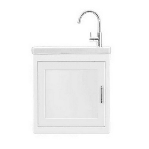 Burnley Moulded Basin-Top + Burnley 500 Matte White Cabinet on Wall Hung 1 Door 1 Tap Hole [251119]