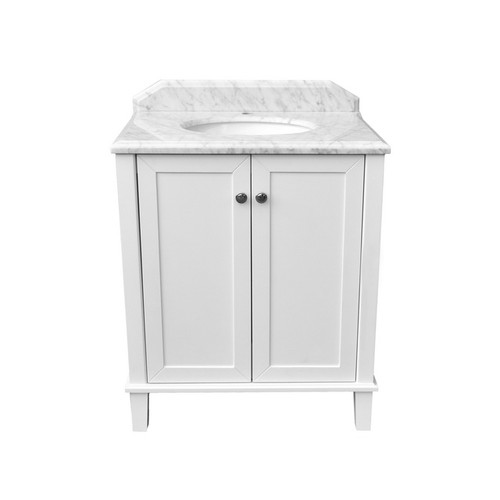 Coventry Undercounter Basin-Top + Coventry 750 White Polyurethane Satin Cabinet on Floor Standing 2 Door 1 Internal Door 3 Tap Hole [251127]