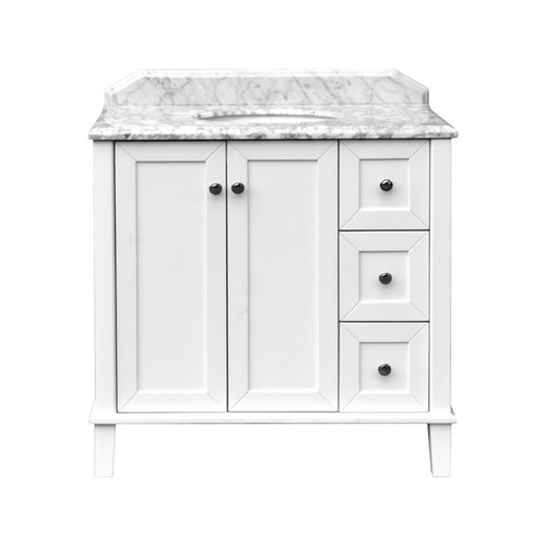 Coventry Undercounter Basin-Top + Coventry 900 White Polyurethane Satin Cabinet on Floor Standing 2 Door 3 Drawer 3 Tap Hole [251129]