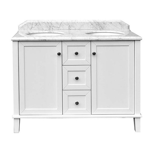 Real Marble Top Undercounter Basin + Coventry 1200mm Satin White Vanity 3 Drawer 2 Door 3 Tap Hole [251131]