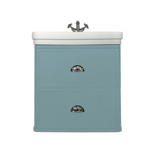 Stafford Moulded Basin-Top + Stafford 620 Duck Egg Blue Cabinet Wall Hung 2 Drawer 1 or 3 Tap Hole [251252]