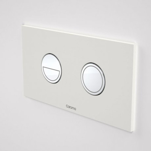 Invisi Series II® Round Dual Flush Plate & Buttons (Metal) Chrome Buttons, White Plate [151517]