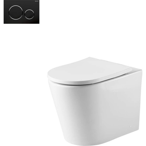 Oslo Wall Faced Toilet Suite With Geberit Matte Black Round Push Plate [166270]