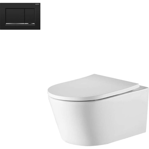Oslo Wall Hung Toilet Suite With Geberit Matte Black Square Push Plate [166272]