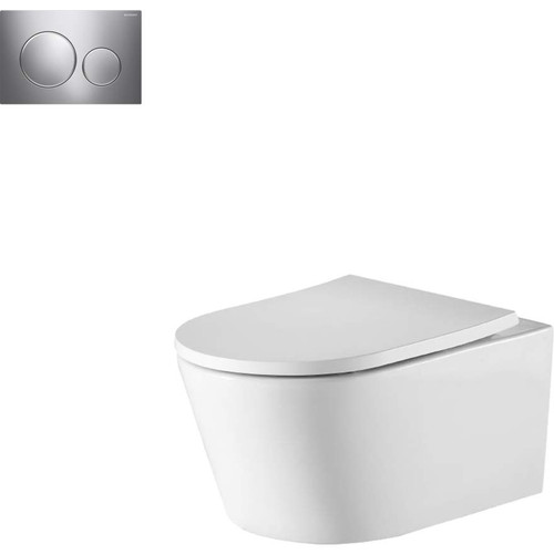 Oslo Wall Hung Toilet Suite With Geberit Chrome Round Push Plate [166273]