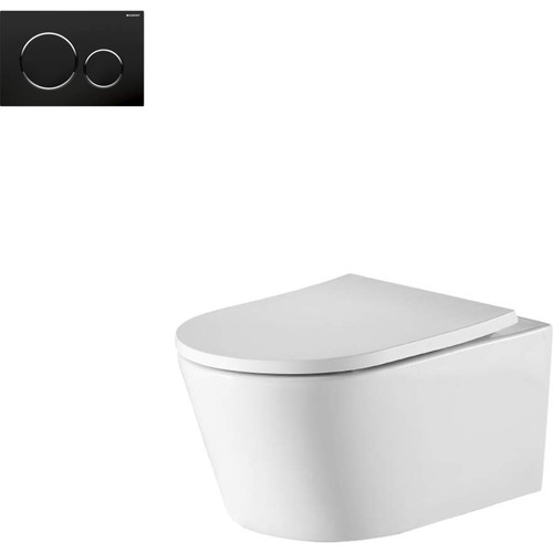 Oslo Wall Hung Toilet Suite With Geberit Matte Black Round Push Plate [166274]
