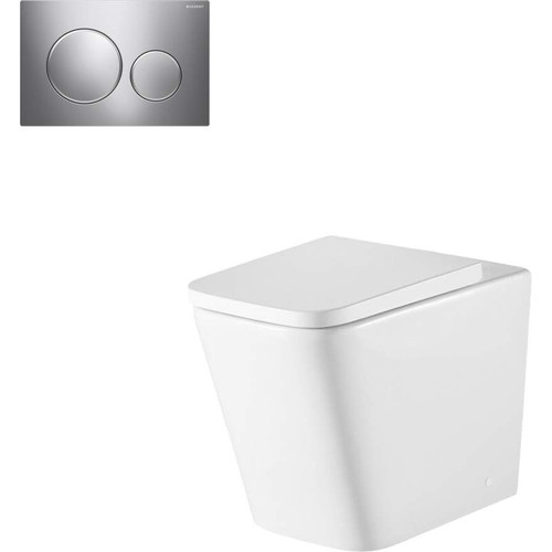 Munich Wall Faced Toilet Suite With Geberit Matte Black Round Push Plate [166279]