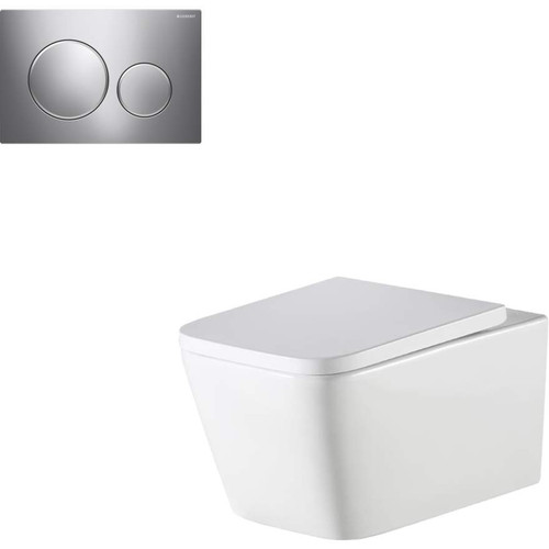 Munich Wall Hung Toilet Suite With Geberit Chrome Round Push Plate [166282]
