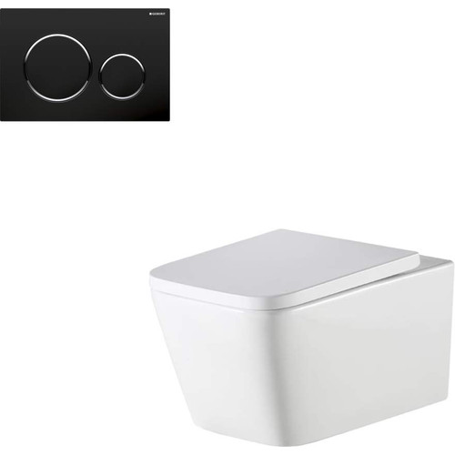 Munich Wall Hung Toilet Suite With Geberit Matte Black Round Push Plate [166283]
