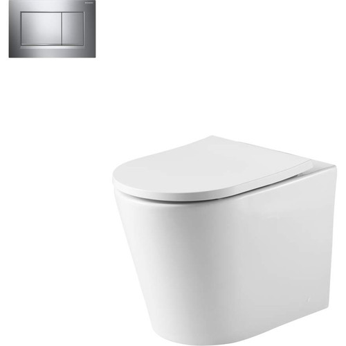 Oslo Wall Faced Toilet Suite With Geberit Chrome Square Push Plate [166267]