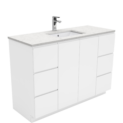 SARAH Bianco Marble 1200 + Gloss White Fingerpull on Kickboard-1 Taphole [165855]