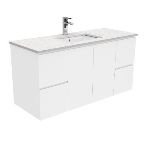 SARAH Bianco Marble 1200 + Gloss White Fingerpull Wall-Hung [165857]