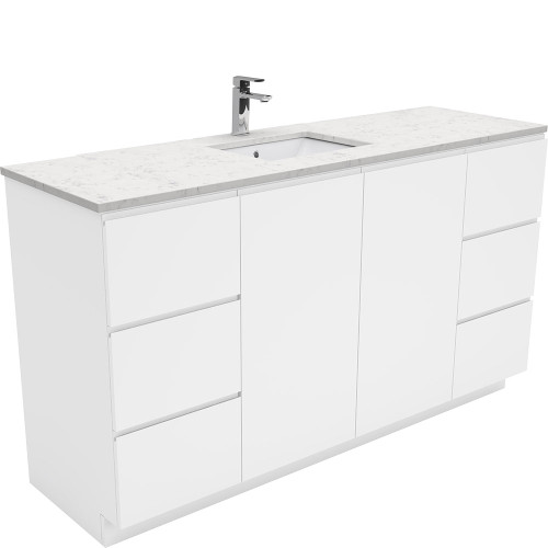 SARAH Bianco Marble 1500, Single Bowl + Gloss White Fingerpull on Kickboard [165859]
