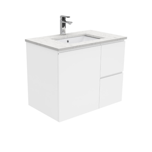 SARAH Bianco Marble 750 + Gloss White Fingerpull Wall-Hung/ RIGHT drawers-1 Taphole [165847]