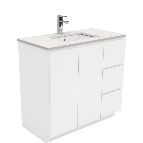 SARAH Bianco Marble 900 + Gloss White Fingerpull on Kickboard/ RIGHT drawers-1 Taphole [165849]