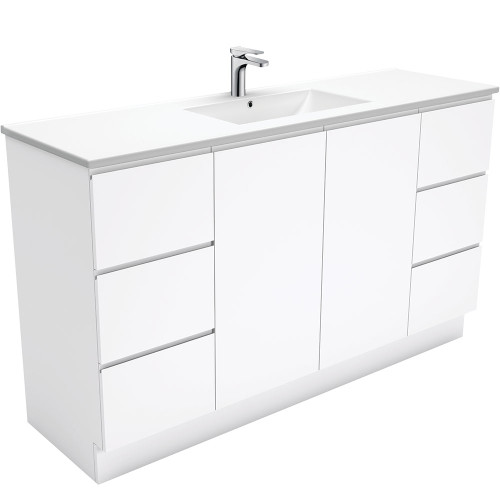 Dolce Fingerpull Gloss White 1500 Single Bowl Vanity on Kickboard [165942]