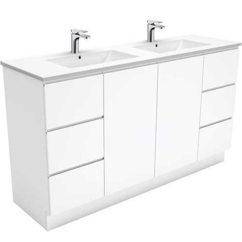 Dolce Fingerpull Gloss White 1500 Double Bowl Vanity on Kickboard [165943]