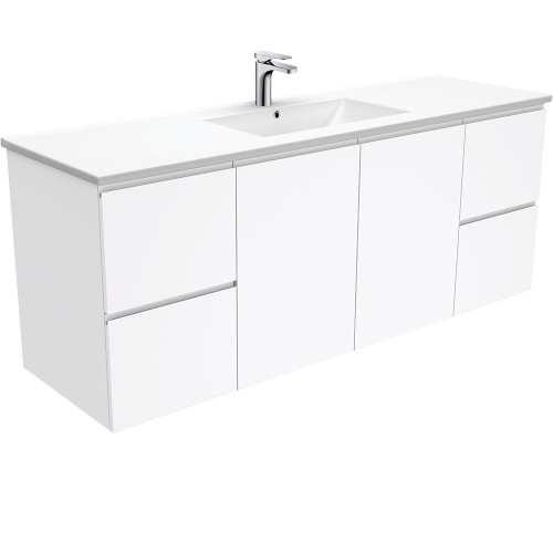 Dolce Fingerpull Gloss White 1500 Single Bowl Wall-Hung Vanity [165944]