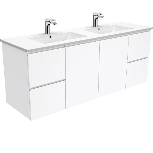 Dolce Fingerpull Gloss White 1500 Double Bowl Wall-Hung Vanity [165945]