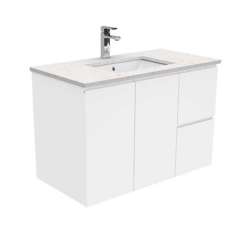 SARAH Bianco Marble 900 + Gloss White Fingerpull Wall-Hung/ RIGHT drawers-1 Taphole [165853]