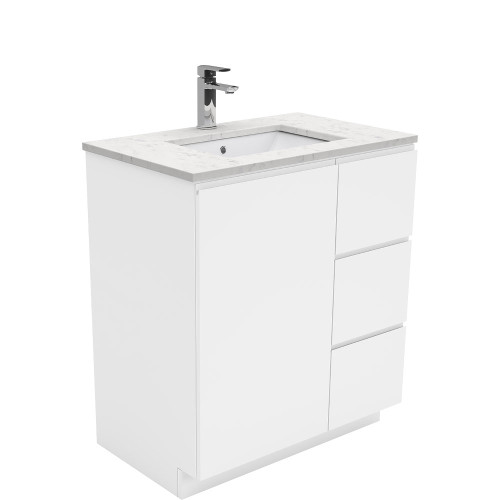 SARAH Bianco Marble 750 + Gloss White Fingerpull on Kickboard/ RIGHT drawers-1 Taphole [165843]