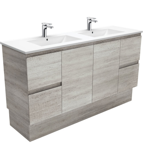 Dolce Edge Industrial 1500 Double Bowl Vanity on Kickboard-1 Taphole [165313]